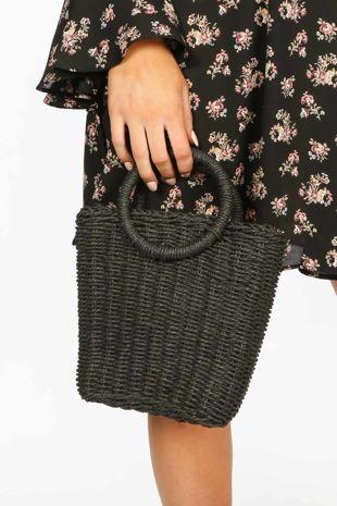 Black Wicker Bucket Bag