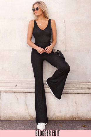 Lurex Flare Jumpsuit In Black