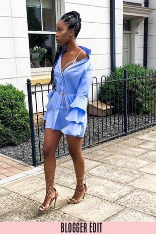 Frill Sleeve Shirt Dress In Blue