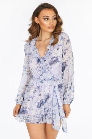 Long Sleeve Chiffon Floral Playsuit In Lilac