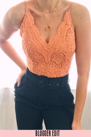 Peach Scallop Edge Slinky Crochet Bodysuit