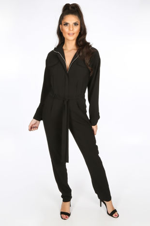 Black Zip Front Boiler Suit