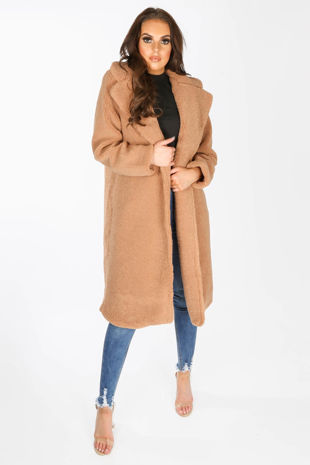 Borg Teddy Coat In Brown