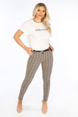 Brown Check Fitted Trouser
