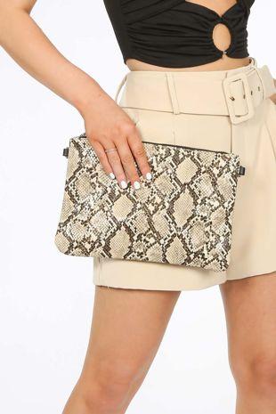 Beige Faux Snake Skin Clutch Bag