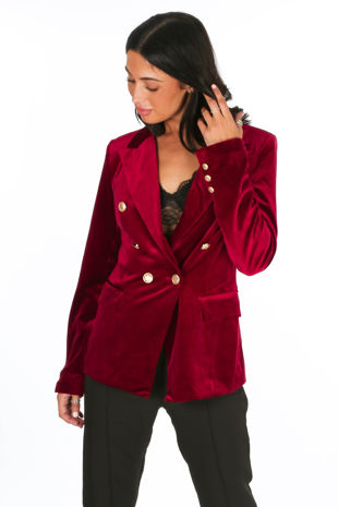 Burgundy Velvet Double Breasted Tailored Blazer