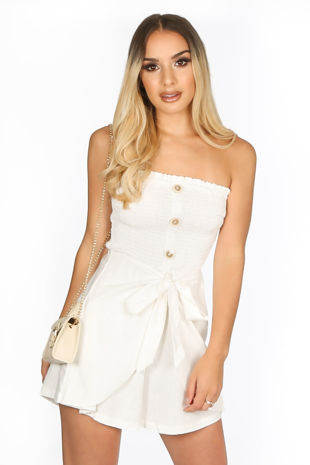 White Wrap Front Button Playsuit