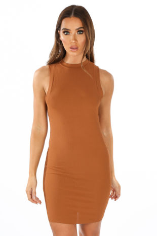 Camel High Neck Ribbed Jersey Mini Dress