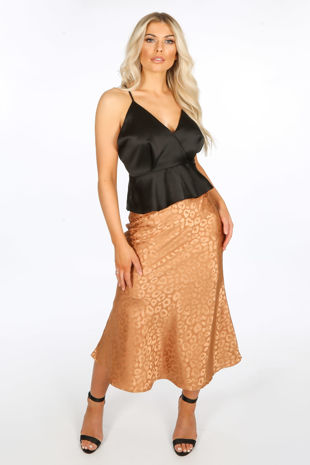 Camel Embossed Satin Bias Midi Skirt