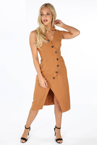 Camel Tailored Midi Dress With Button Detail
