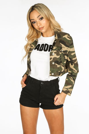 Cropped Camo Denim Jacket