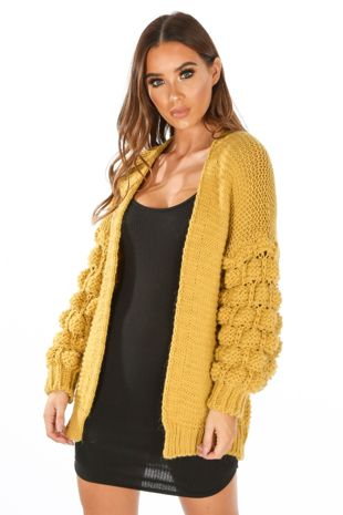 Knitted Cardigan With Bobble Sleeve In Mustard