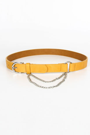 Mustard PU Belt With Chain