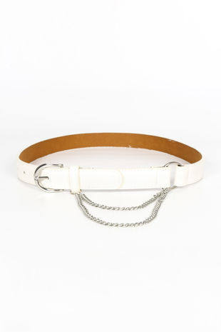 White PU Belt With Chain
