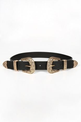 Chunky Gold Double Buckle Belt