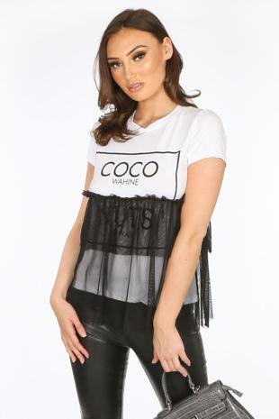 Black Coco Slogan Tulle T-Shirt