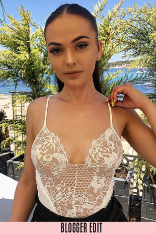 Contrast Eyelash Lace Bodysuit In White