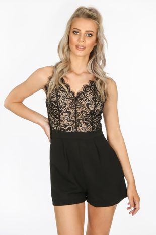 Black Contrast Lace Tailored Playsuit