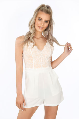 White Contrast Lace Tailored Playsuit