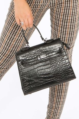 Faux Croc Skin Tote Bag In Black