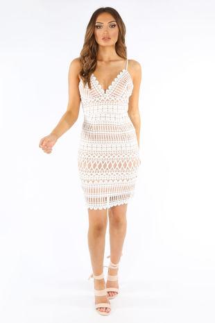 White Contrast Crochet Cami Dress