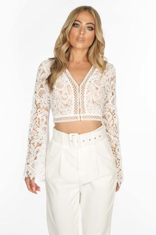 78f7f4feddf White Long Sleeve Crochet Crop Top