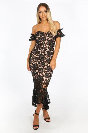 Black Crochet Bardot Fish Tail Midi Dress