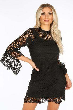 Frill Sleeve Crochet Dress With Slip Underlay In Black