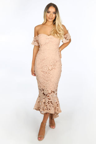 Nude Crochet Bardot Fish Tail Midi Dress