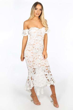 White Crochet Bardot Fish Tail Midi Dress