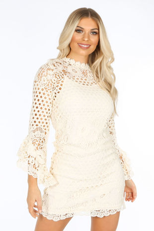 Frill Sleeve Crochet Dress With Slip Underlay In Cream