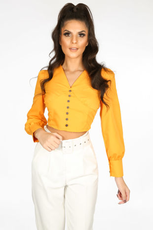 Cropped Button Front Blouse In Orange