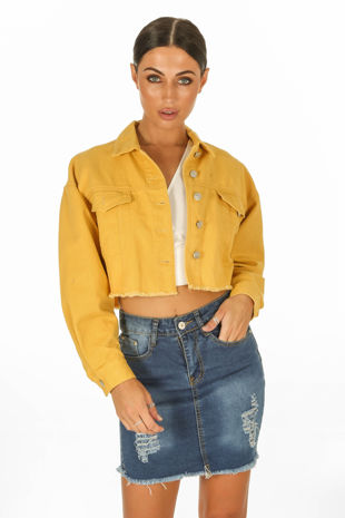 Cropped Denim Jacket In Mustard