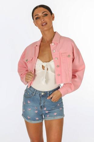 Cropped Denim Jacket In Pink