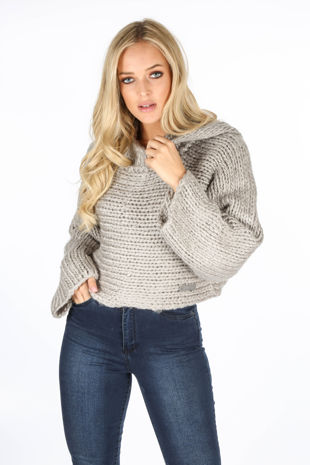 Grey Hand Made Cropped Jumper With Hood