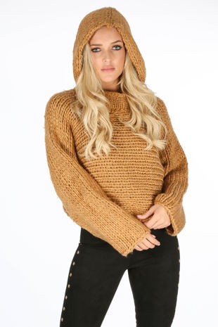 Camel Hand Made Cropped Jumper With Hood