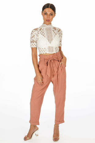 Cropped Paper Bag Trouser In Dusky Pink