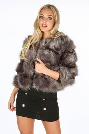 Cropped Super Soft Faux Fur Jacket In Grey