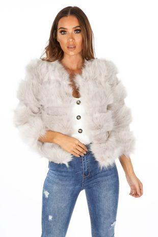 Cropped Super Soft Faux Fur Jacket In Light Grey