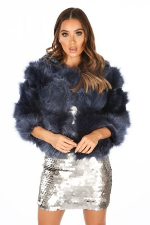 Cropped Super Soft Faux Fur Jacket In Navy
