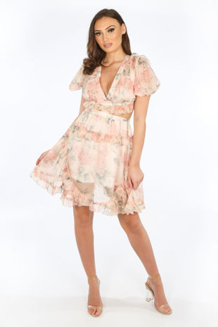 Peach Tie Back Floral Day Dress
