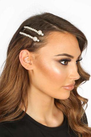Daisy Skinny Pearl Hair Slides
