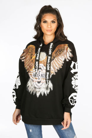 Black Embellished Eagle Hooded Sweatshirt