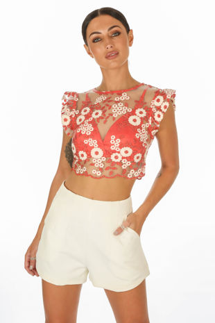 Embroidered Crop Top With Bralet Underlay In Red