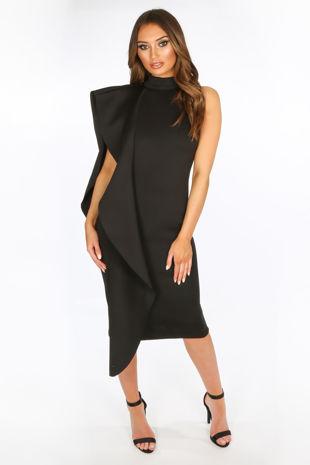 Exaggerated Frill Midi Dress in Black Neoprene