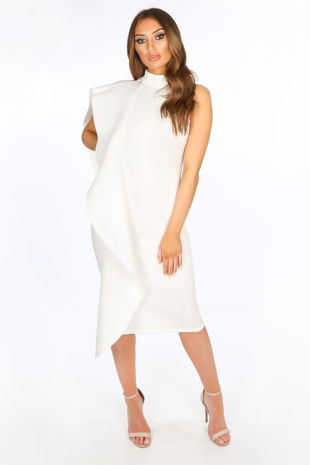Exaggerated Frill Midi Dress in White Neoprene