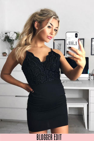 Scallop Crochet Bodycon Dress In Black