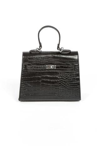 Faux Croc Skin Tote Bag In Black