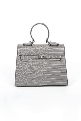 Faux Croc Skin Tote Bag In Grey