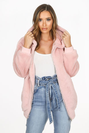 Luxe Faux Fur Zip Up Hoodie In Pink